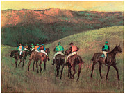 Animals Pastels Framed Prints - Racehorses in a Landscape Framed Print by Edgar Degas