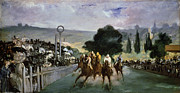 Spectators Painting Posters - Races at Longchamp Poster by Edouard Manet