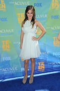 Ruffled Dress Framed Prints - Rachel Bilson Wearing A Chloe Dress Framed Print by Everett