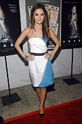 Strapless Dress Photo Framed Prints - Rachel Bilson Wearing An Abaete Dress Framed Print by Everett