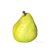 Food Posters - Rachels pear Poster by Fran Henig