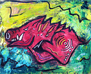 Pig Paintings - Racin Red by David McGhee