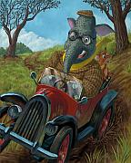 Kids Sports Art Digital Art Posters - Racing Car Animals Poster by Martin Davey