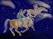 Wyoming Paintings - Racing Comets - Dream Series 5 by Dawn Senior-Trask