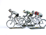 Race Metal Prints - Racing cyclist Metal Print by Bernard Jaubert