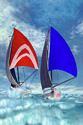 Yacht Digital Art - Racing home by Carol and Mike Werner