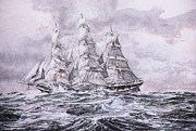 Sails Drawings - Racing Home by Rex Stewart