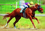Race Horse Photos - Racing in the Stretch by Clarence Alford