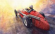 Auto Racing Prints - Racing Light Maserati 250 F Print by Yuriy  Shevchuk