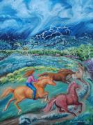 Wyoming Paintings - Racing the Lightning Home -- oil by Dawn Senior-Trask