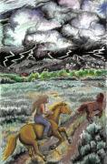 Mountain Cabin Drawings Posters - Racing the Lightning Home Poster by Dawn Senior-Trask