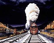 Train Paintings - Racing the Storm by David Mittner