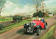 Old Car Posters - Racing the Train Poster by Richard Wheatland