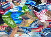 Bicycles Paintings - Racing the wind by Michael Lee