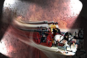 Fireman Posters Posters - Racing to the scene Poster by Tommy Anderson