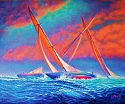 Sun Rays Painting Prints - Racing Wedge Print by Joseph   Ruff