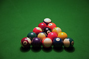Recreational Pool Prints - Racked Pool Balls On A Green Felt Pool Table Print by Tobias Titz