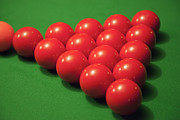 Recreational Pool Posters - Racked Snooker Balls On A Pool Table Poster by Tobias Titz