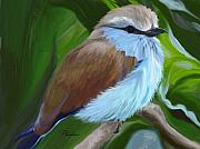 Racket Framed Prints - Racket-tailed Roller Framed Print by Patricia Kemke