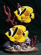 Nautical Sculptures - Racoon Angel Fish by Keith Edmondson