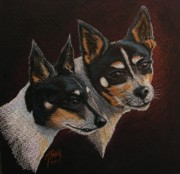 Toy Animals Drawings Prints - Radar and Ginger Print by Marilyn Smith