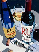Blue Red And White Posters - Radford Red and White Poster by Christopher Mize