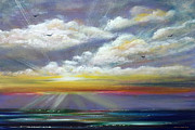 Blue Paintings - Radiance - Seascape Painting by Gina De Gorna
