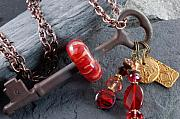 Red Jewelry - Radiance Boro Glass Beaded Vintage Skeleton key Necklace by Paula McDonough