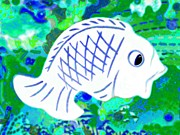 Abstractart Posters - Radiated Fish Poster by Barbara Drake