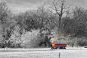 Snow Drifts Metal Prints - Radio Flyer Metal Print by Julie Lueders