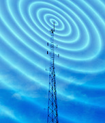Microwaves Prints - Radio Mast With Radio Waves Print by Mehau Kulyk