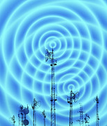 Technological Communication Prints - Radio Masts With Radio Waves Print by Mehau Kulyk