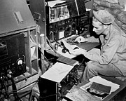 Command Center Framed Prints - Radio Operator Operates His Scr-188 Framed Print by Stocktrek Images