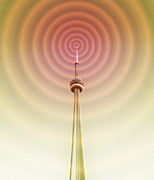 Communications Technology Posters - Radio Tower With Radio Waves Poster by Mehau Kulyk