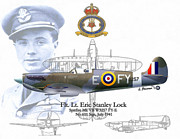 Raf Mixed Media Posters - RAF Flt. Lt. Eric Stanley Lock Poster by A Hermann