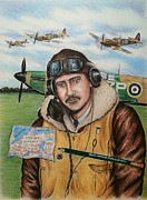Spitfire Posters - RAF wartime pilot and pencil Poster by Andrew Read