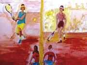 Roger Federer Paintings - Rafa versus Federer by Stanley Morganstein