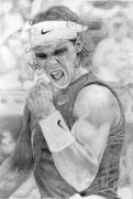 Tennis Drawings Posters - Rafael Nadal Poster by Alexandra Riley