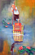 Waterlilies Mixed Media Posters - Rafting Poster by Miriam Besa