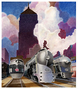 Train Mixed Media Prints - Ragans Art Deco Print by Lyle Brown