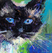 Austin Drawings - Ragdoll cat painting by Svetlana Novikova