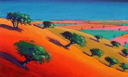 Vivid Orange Paintings - Ragged Stone Hill by Paul Powis