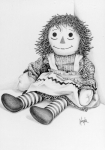 Doll Drawings - Raggedy Ann by Gaylon Dingler