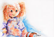 Artist Watercolor Prints - Raggedy Rosie Print by Stephie Butler