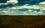 Cloudy Skies Prints - Raging Midnight Field Print by Bill Tiepelman