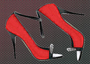 Stilettos Paintings - Raging Red Open Toed Stilettos by Elaine Plesser
