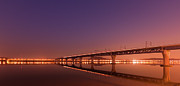South Korea Prints - Rail Bridge On Han River Print by Photo by Paul Morris