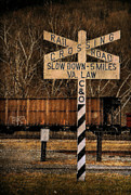 Railroad Crossing Photo Framed Prints - Rail Crossing Framed Print by Todd Hostetter