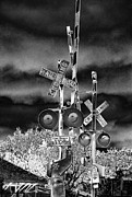 Railroad Crossing Photo Framed Prints - Rail Road Crossing Signs  Framed Print by Linda Phelps
