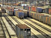 Train Car Prints - Rail Yard 2 Print by Scott Hovind